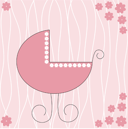 Stroller for a baby girl Vector