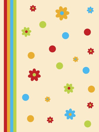 stripe: Dots and flowers design