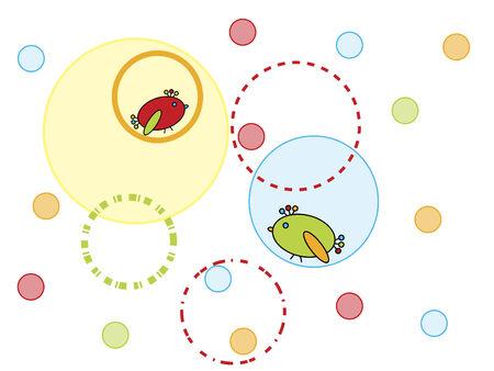circles pattern: Birds and circles design