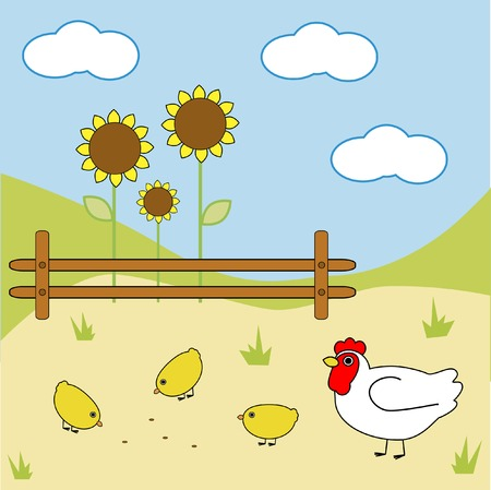 Chicken on a farm Stock Vector - 3789024