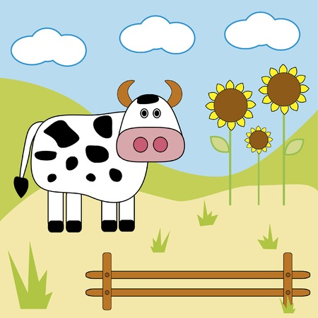 sunflower drawing: Cow on a farm