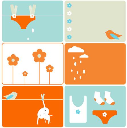 Set of six laundry designs