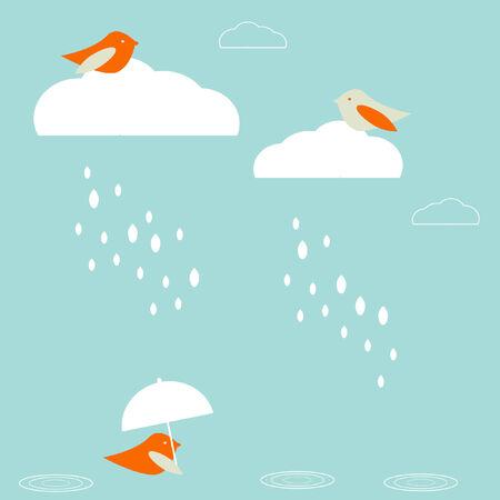 cartoon umbrella: Rain birds