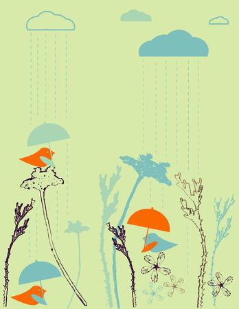 three animals: Pioggia uccelli