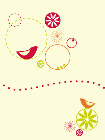 Circles and birds design Stock Vector - 3901539