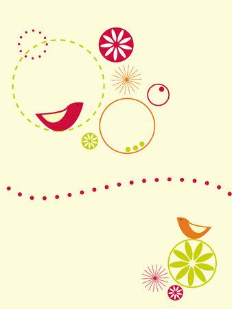 Circles and birds design Stock Vector - 3901539