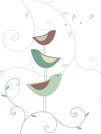 Floral birds design Vector