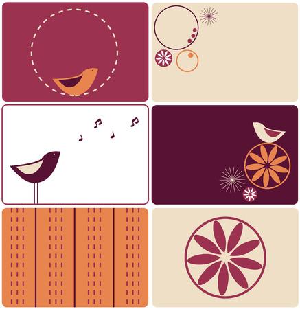 Set of six birds designs Stock Vector - 3936073
