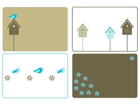 roof line: Conjunto de cuatro dise�os birdhouses