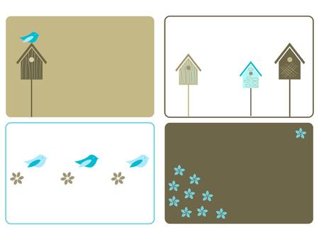 Set of four birdhouses designs Stock Illustratie