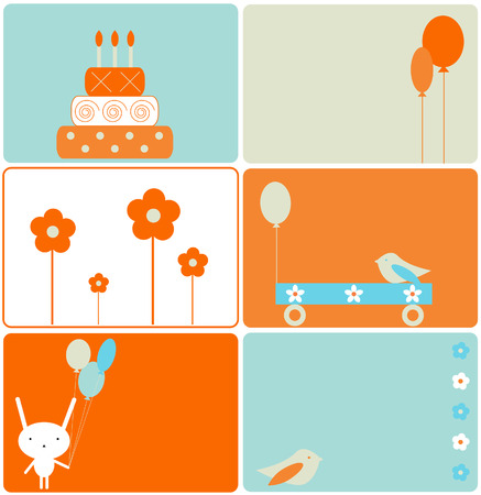 Set of six birthday designs Stock Vector - 3936074
