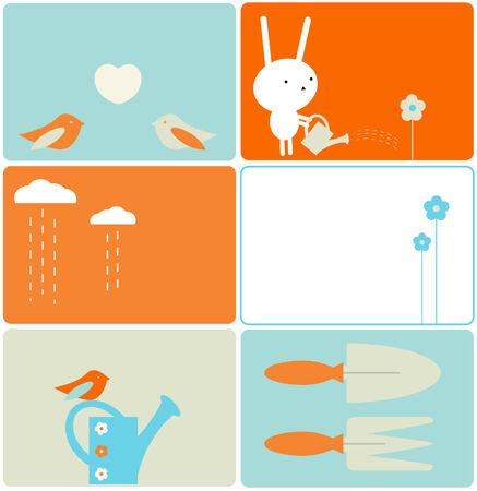 Set of six gardening designs Vectores
