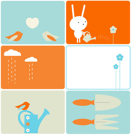 water can: Set of six gardening designs Illustration