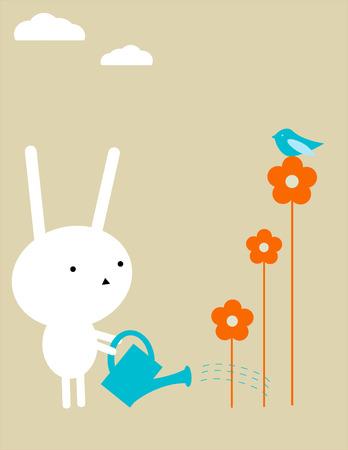 Bunny gardening Vector