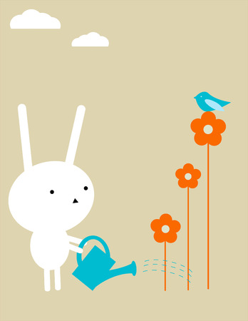 dry flowers: Bunny jardiner�a Vectores
