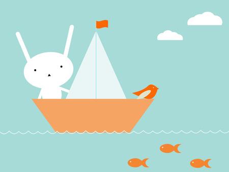 open sea: Bunny travel Illustration