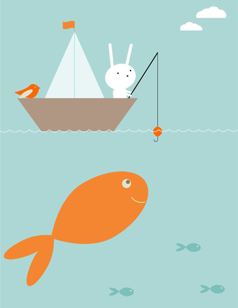 hungry kid: Bunnys fishing surprise Illustration