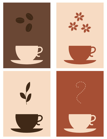Four coffee and tea designs Vector