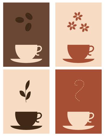 Vier Kaffee und Tee-designs Standard-Bild - 3936091