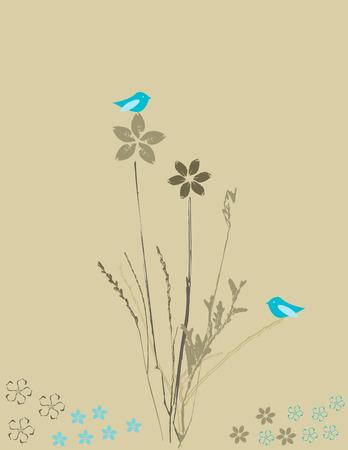 Bloemen en vogels