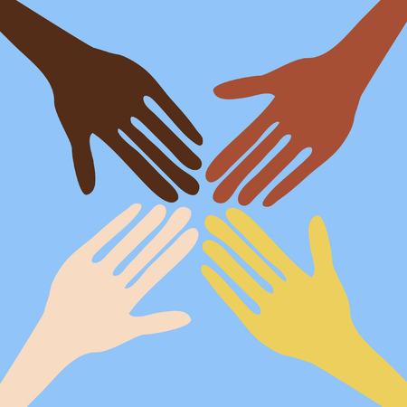 identidad cultural: manos de personas de diferentes naciones Vectores