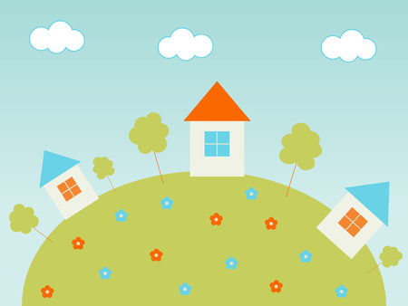 Houses on the hill Stock Vector - 3976646