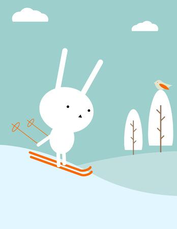 Bunny skiing Illusztráció
