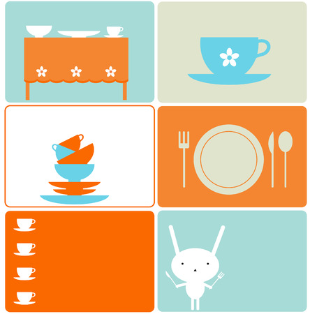 six objects: Set of six kitchen designs Illustration