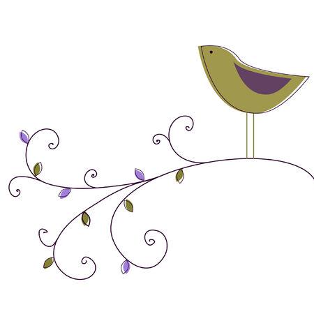 �rboles con pajaros: Jard�n de aves Vectores