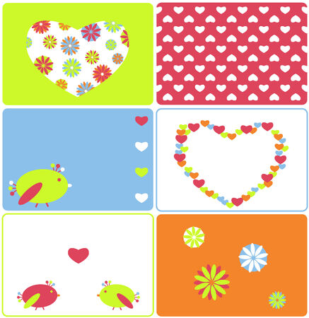 Set of six birds and hearts designs Illustration