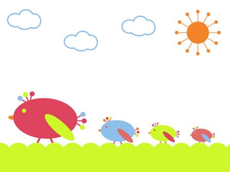 child care: Row of birds