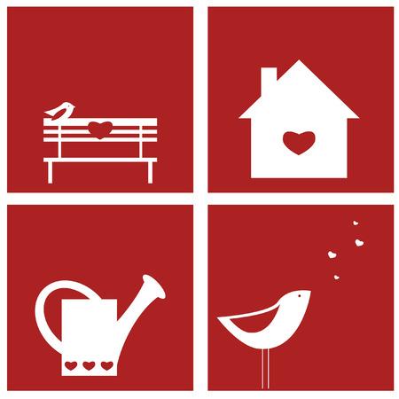 Set of Saint Valentine designs Vettoriali