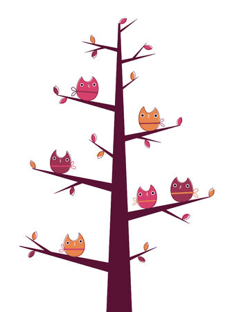 Owls on the tree Vector