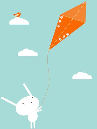 Flying a kite Stock Vector - 4172677