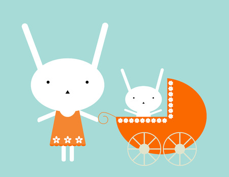 baby girl: Bunny baby Illustration