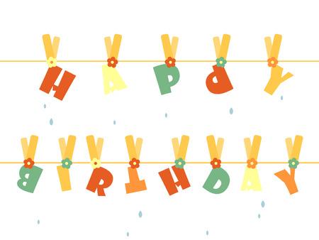 Carta di lavanderia Happy birthday Archivio Fotografico - 4172700