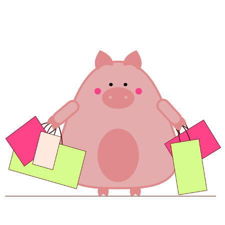 Piggy carrying shopping bags Vector