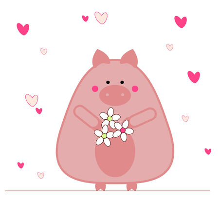 Piggy in love Vector