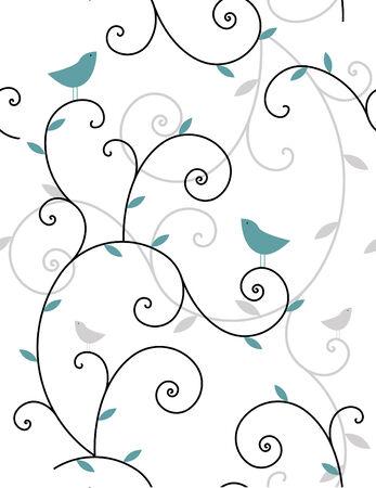 植物および鳥のシームレスなパターン  イラスト・ベクター素材