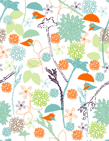 Rain birds seamless pattern