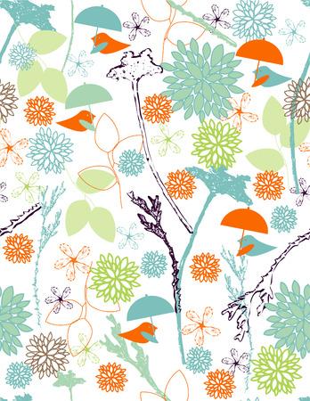 Naadloze: Regen vogels naadloze patroon