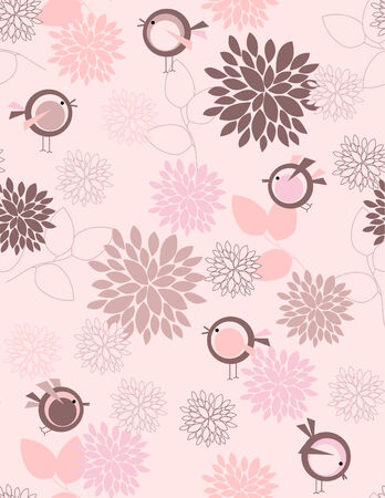 Garden birds seamless pattern