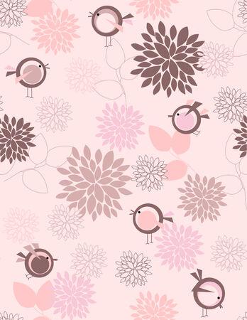 Naadloze: Tuin vogels naadloze patroon Stock Illustratie