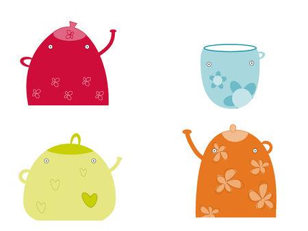 Funny teapots Vector