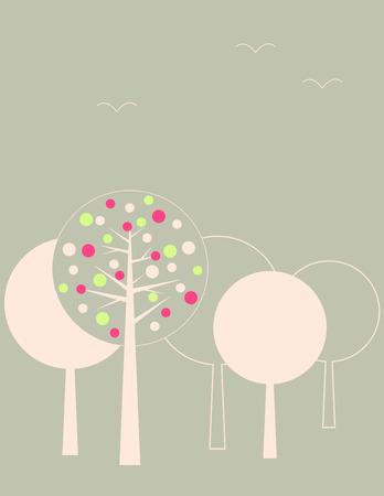 v�gelchen: Garten B�ume  Illustration