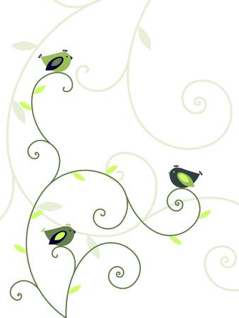 植物と鳥たち  イラスト・ベクター素材