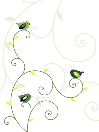 abstract flowers: Plants and birds Illustration
