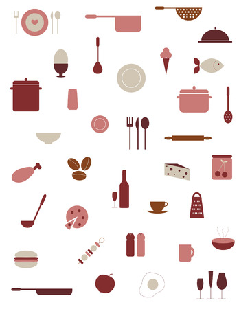 食品、キッチン用品のアイコンのコレクション  イラスト・ベクター素材