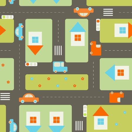 Seamless streets pattern Ilustração