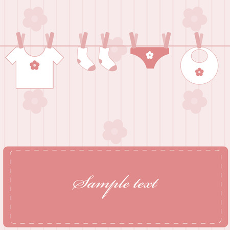 Baby girl announcement Stock Vector - 4409134